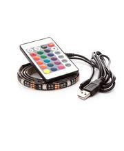 LED pásek 70cm, do USB, 21 diod, dálkový ovladač, 20 barev, samolepící