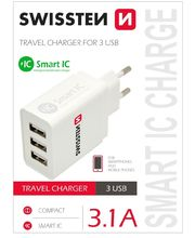 Swissten Smart IC cestovná nabíjačka 3xUSB, 3,1A, biela